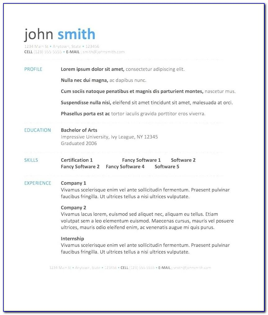 Free Microsoft Word Resume Template Download