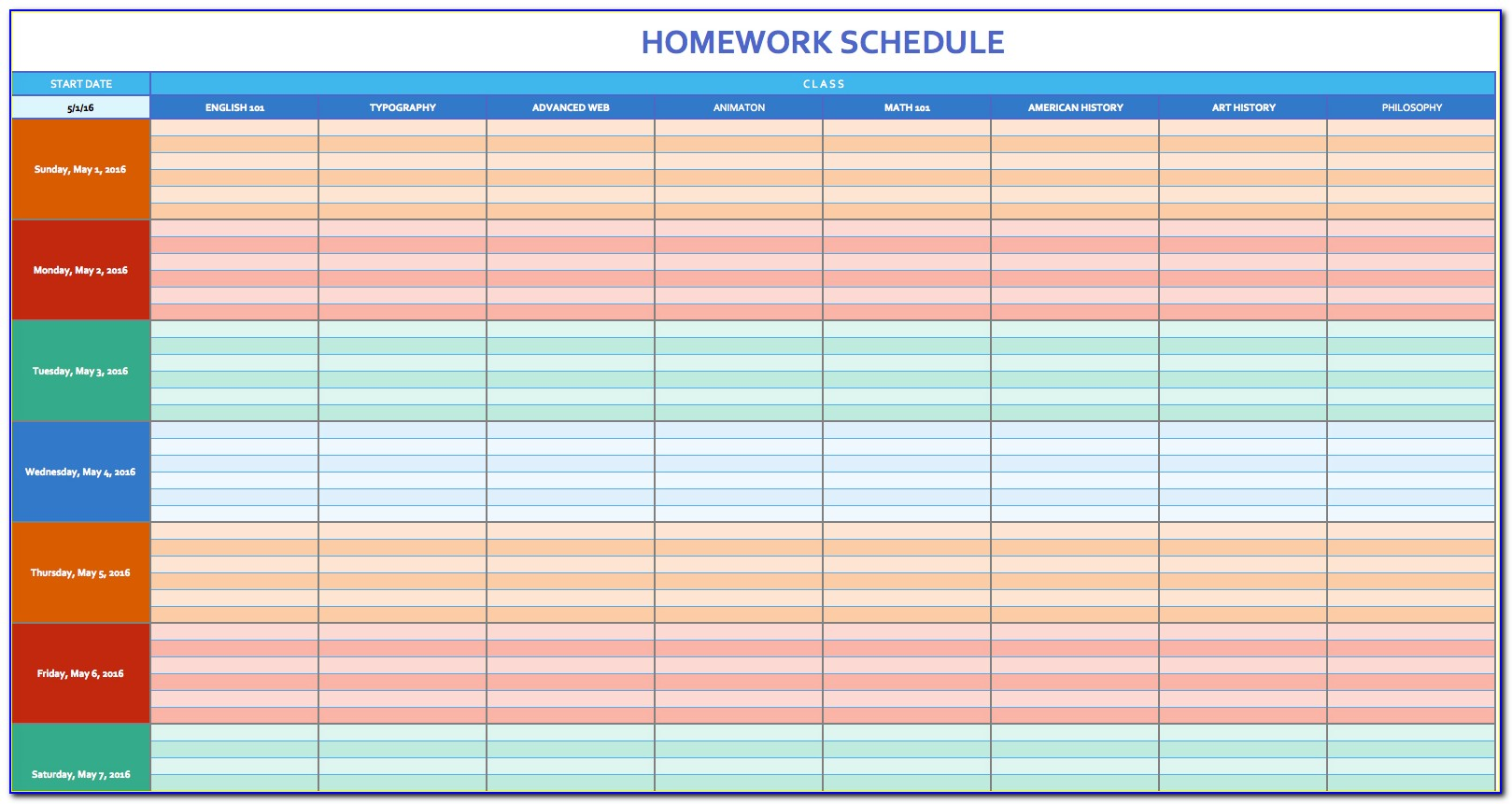 Free Monthly Planner Template Excel