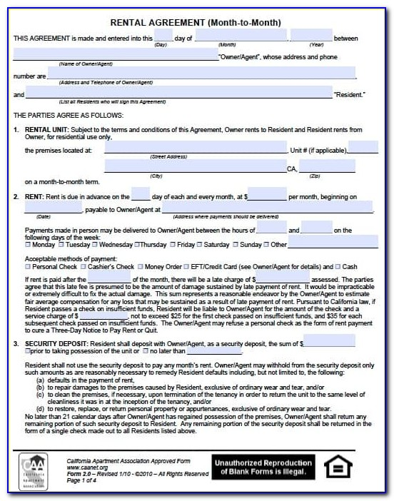 Free Monthly Rental Agreement Forms
