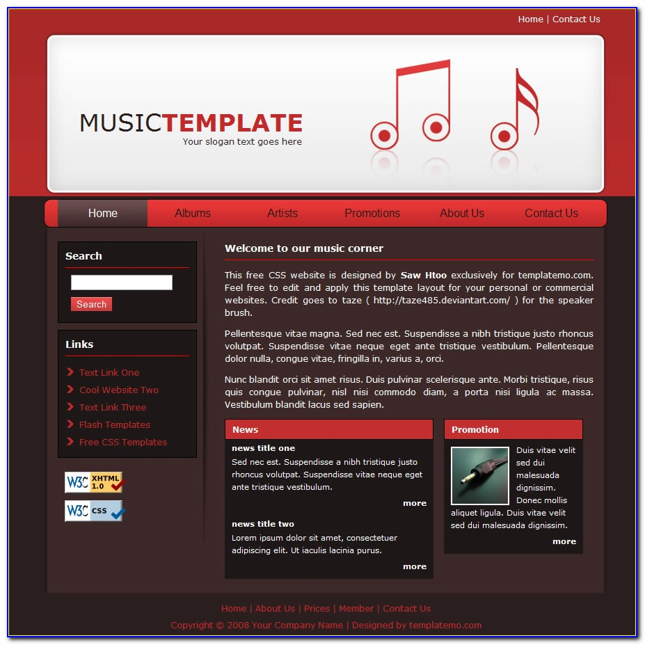 Free Music Website Templates Download