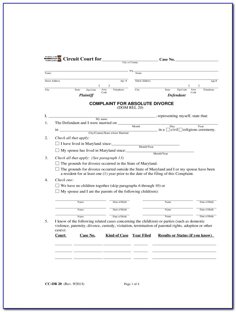 Free Nc Divorce Complaint Form
