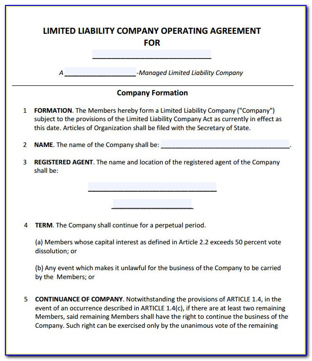 Free Nc Llc Operating Agreement Form