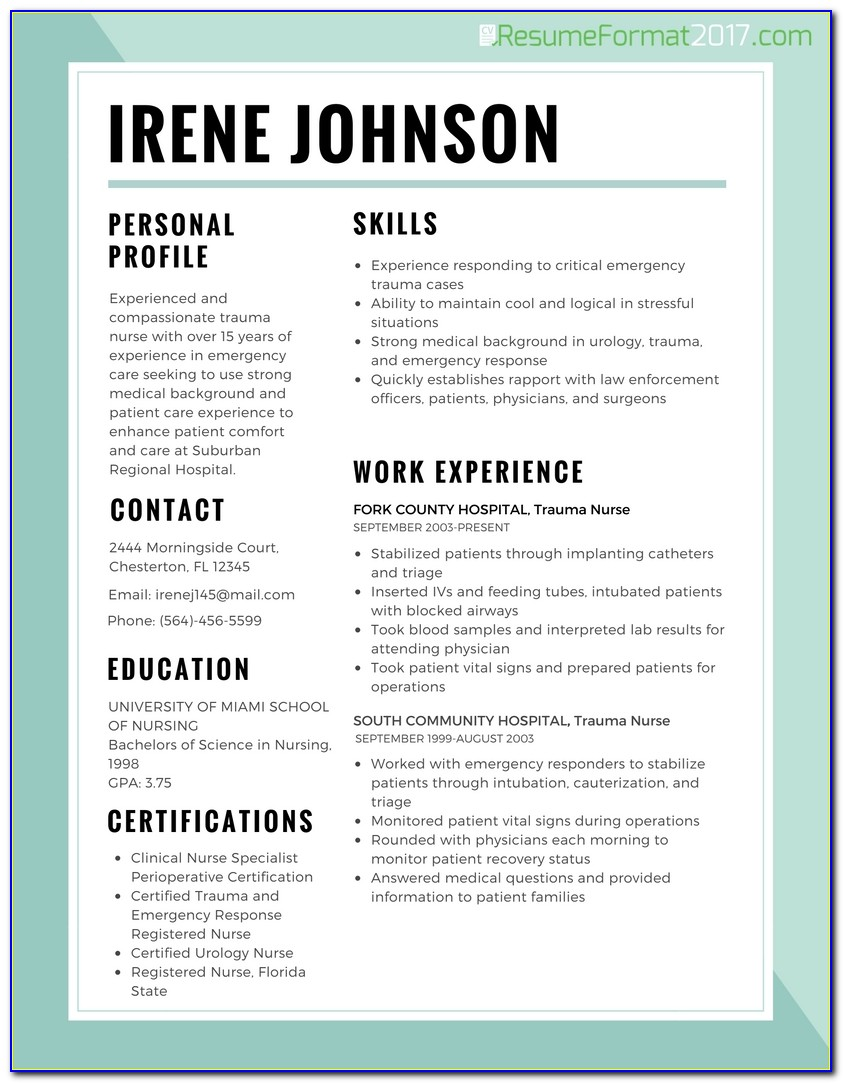 Resume Best Format For Nurses 2017 | Resume Format 2017 Regarding Nursing Resume Template 2017