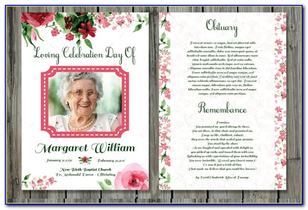 Free Obituary Card Template For Funerals Online