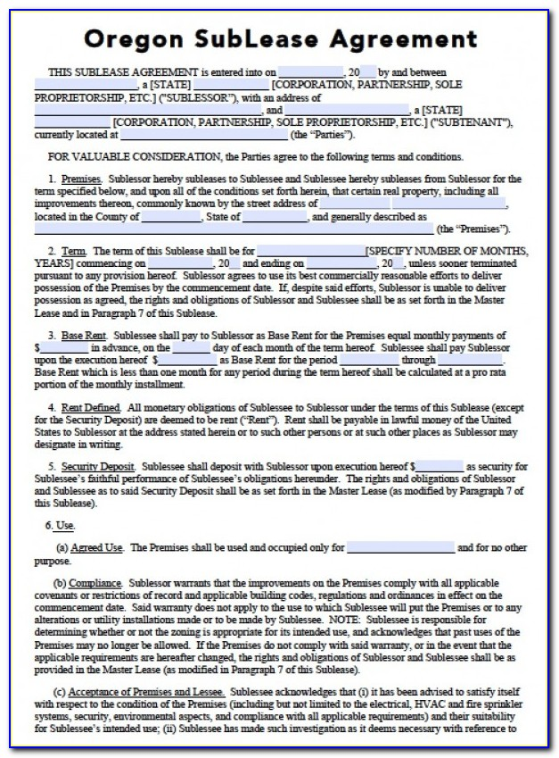 Free Oregon Rental Lease Agreement Forms