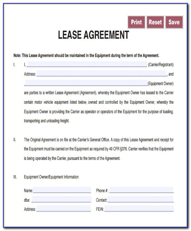 Free Owner Operator Lease Agreement Forms