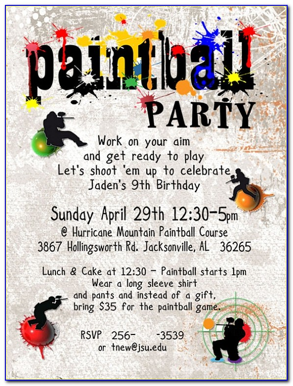 Free Paintball Birthday Party Invitations Template