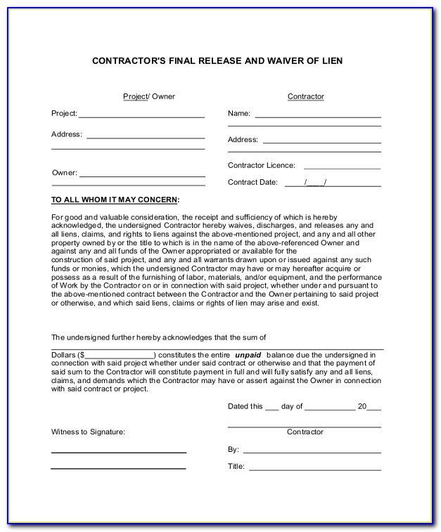 Free Partial Waiver Of Lien Form Illinois