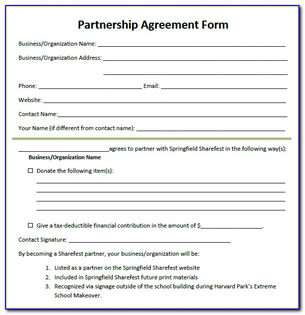 Free Partnership Agreement Form Doc