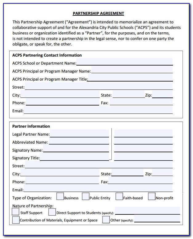 Free Partnership Agreement Template Pdf