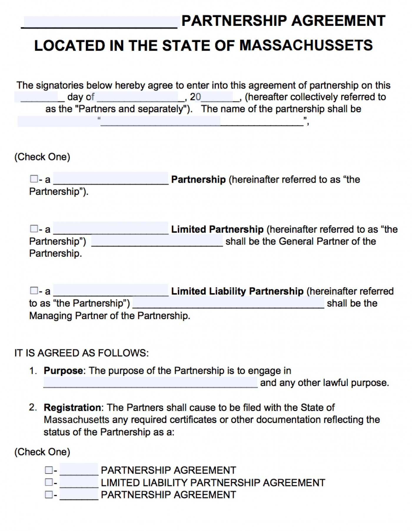 Free Partnership Agreement Template Word Uk