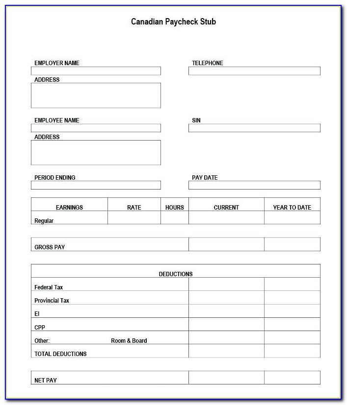 Free Pay Stub Template Canada