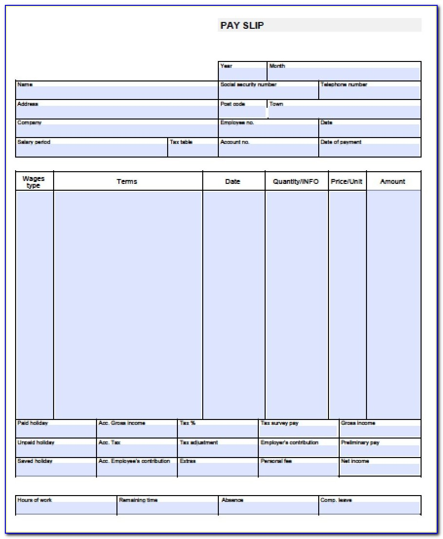 Free Pay Stub Template Printables