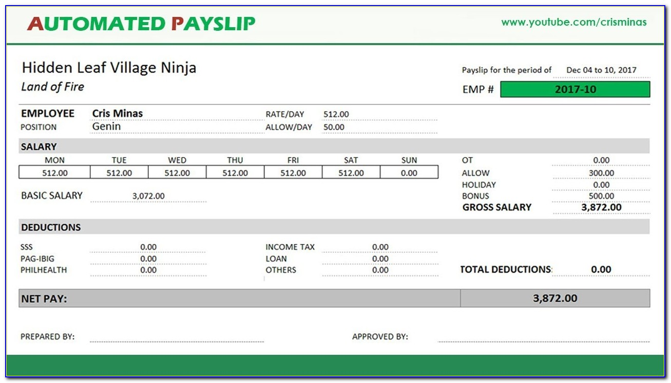Free Payslip Template Excel Malaysia