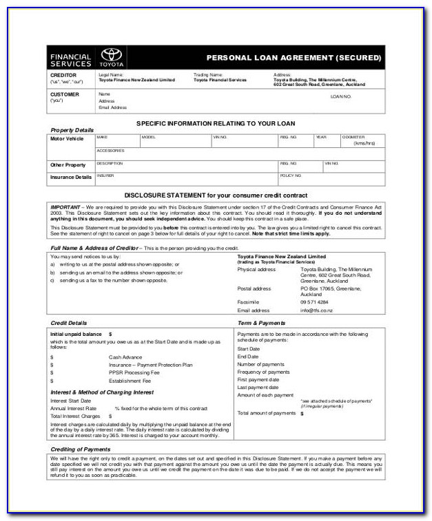 Free Personal Loan Agreement Template Pdf