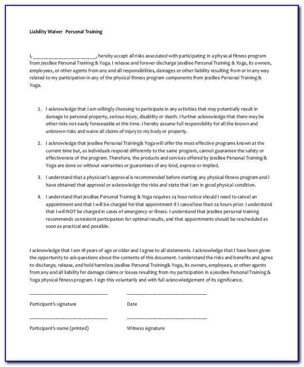 Free Personal Training Waiver And Release Form