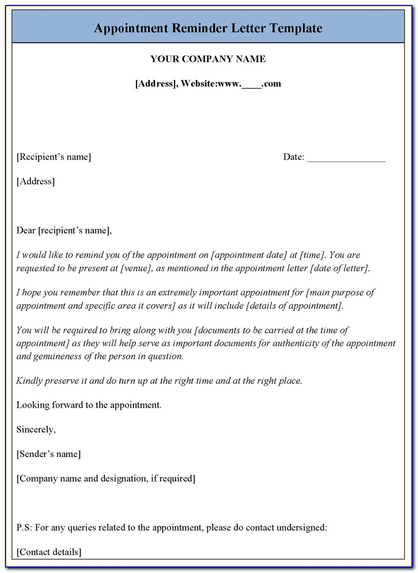 Free Printable Appointment Reminder Template
