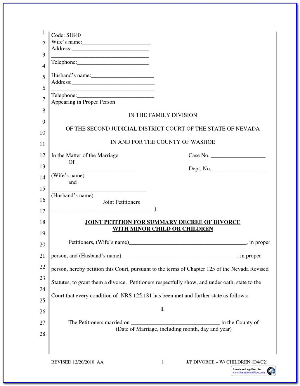 Free Printable Arkansas Divorce Forms