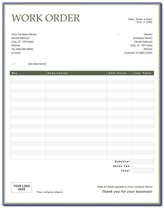 Free Printable Automotive Work Order Template