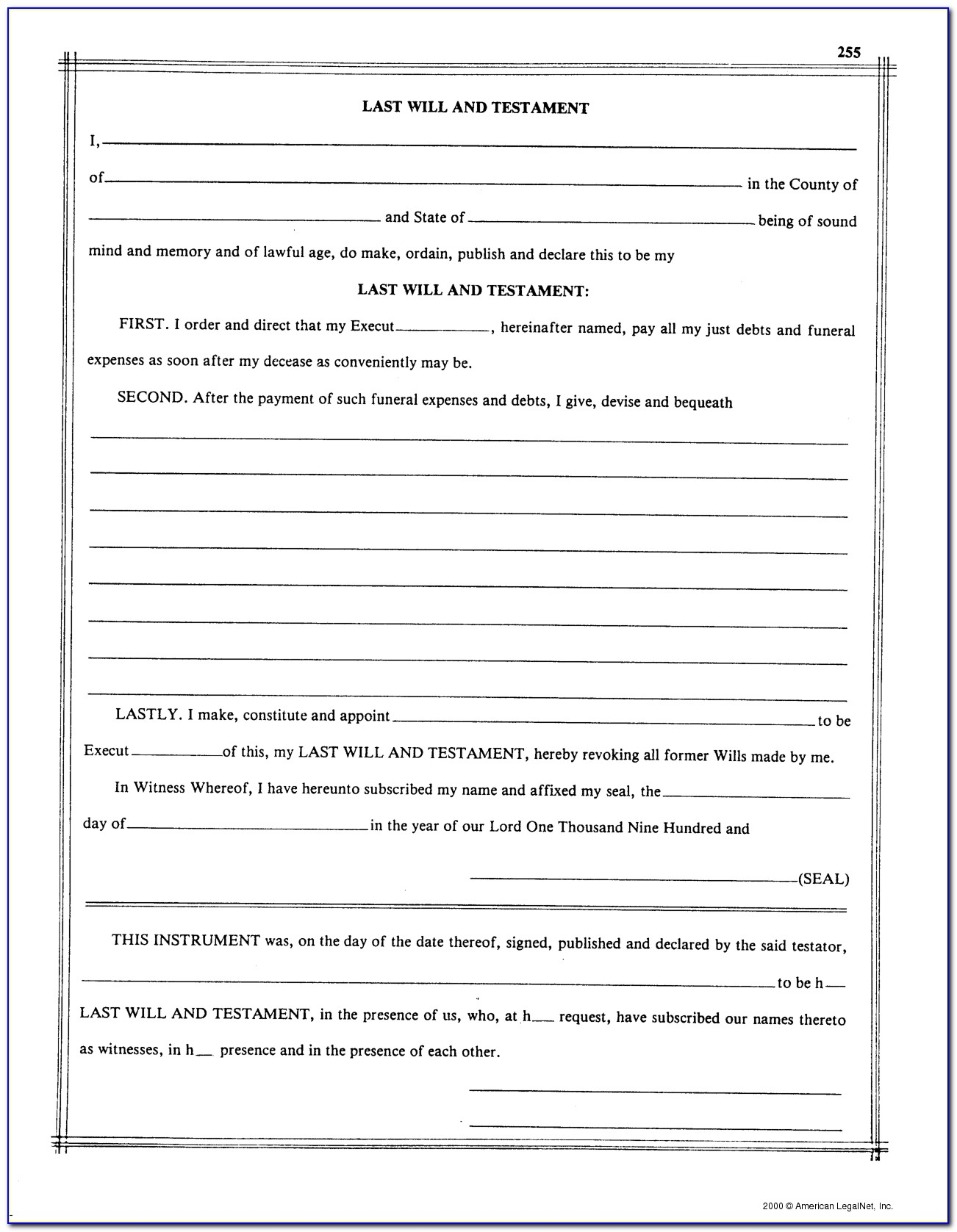 Free Printable Blank Last Will And Testament Forms