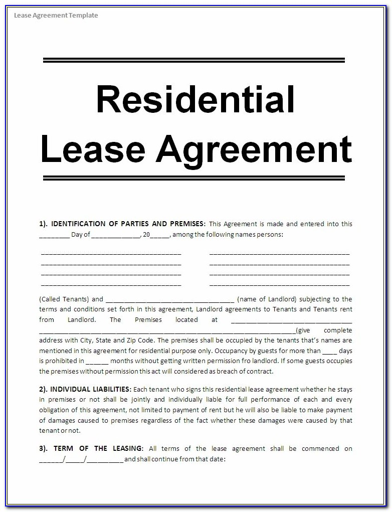 Free Printable Blank Residential Lease Agreement Forms