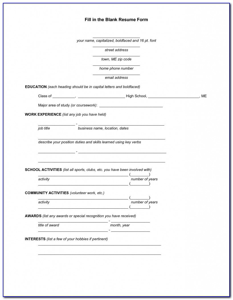 25 Free Printable Fill In The Blank Resume Templates – Sakuranbogumi Free Printable Fill In The Blank Resume Templates