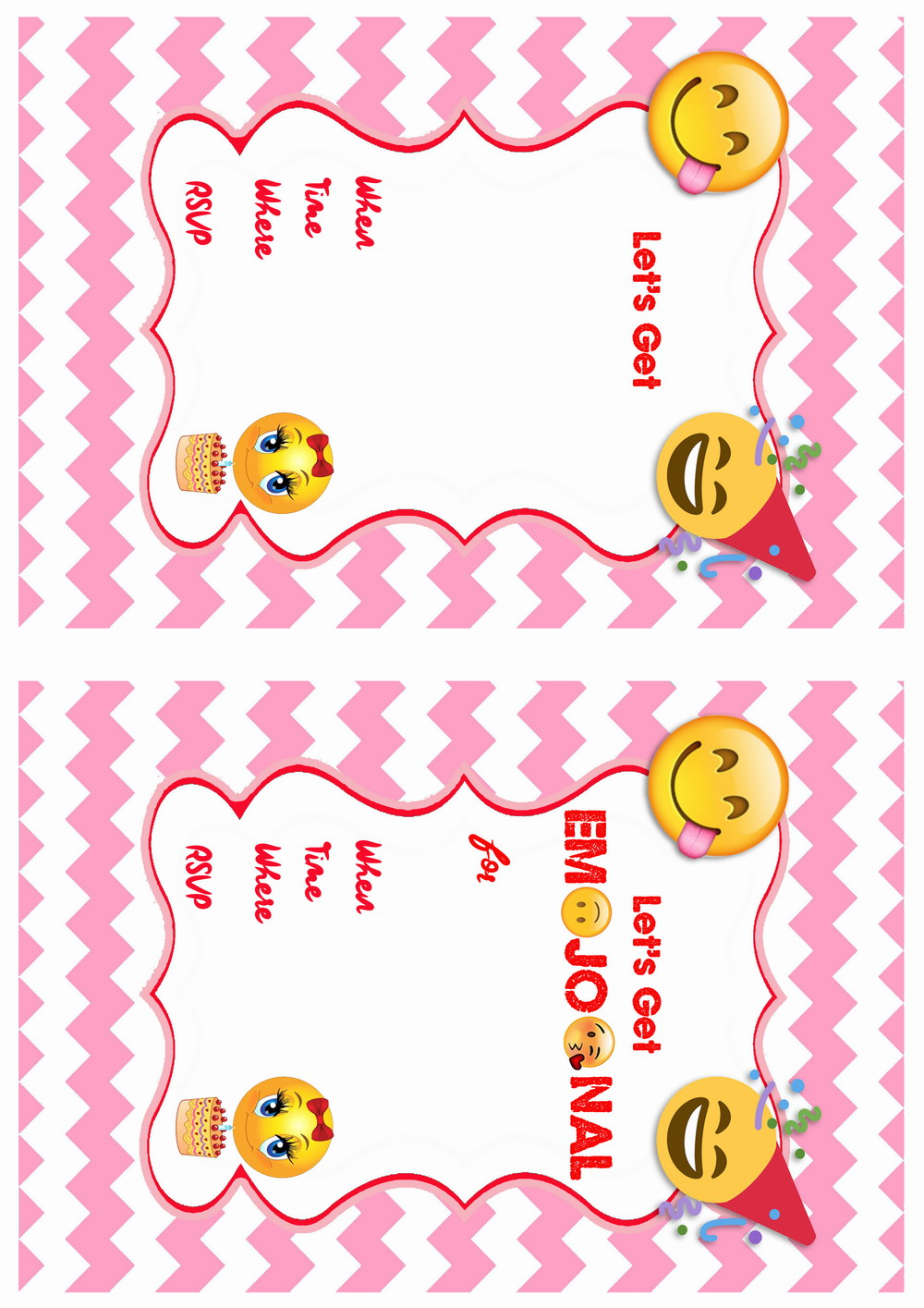 Free Printable Emoji Birthday Invitation Templates