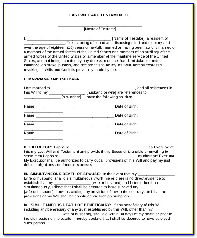 Free Printable Blank Last Will And Testament Forms Vincegray2014