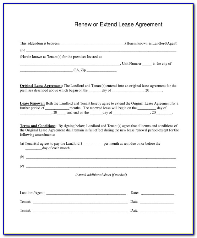 Free Printable Lease Renewal Form