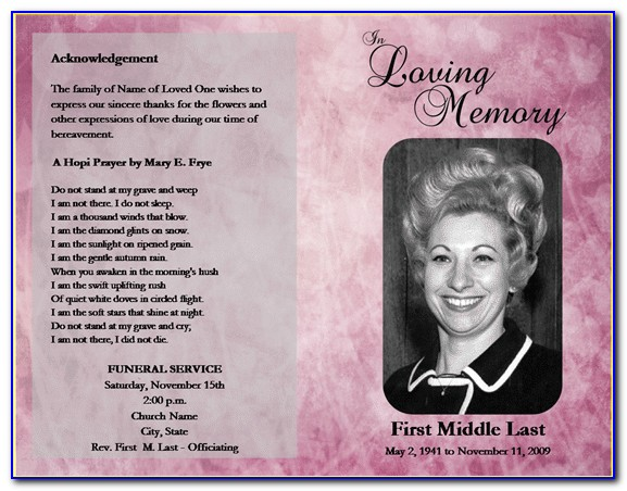 Free Printable Memorial Card Templates