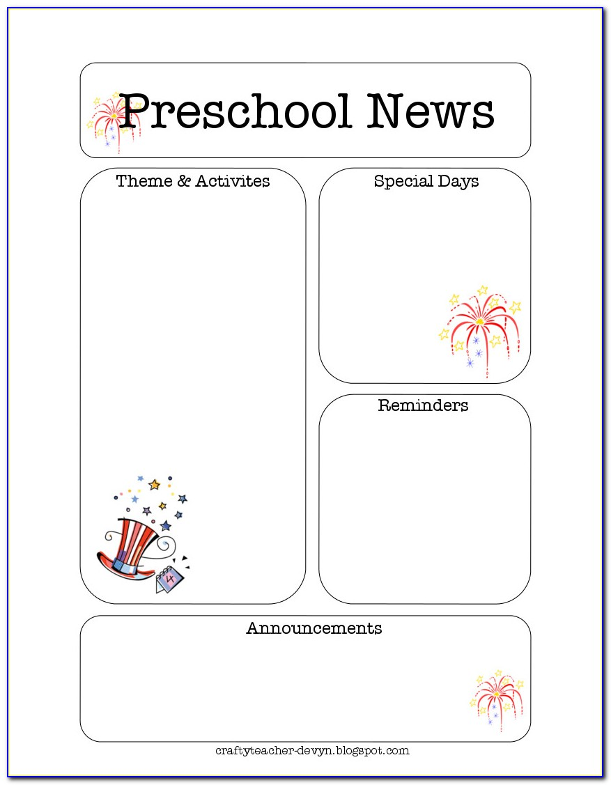 Free Printable Newsletter Templates For Kindergarten