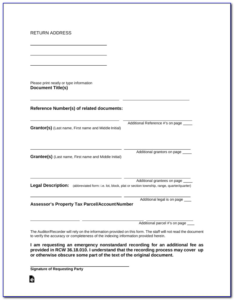 Free Printable Quit Claim Deed Washington State Form