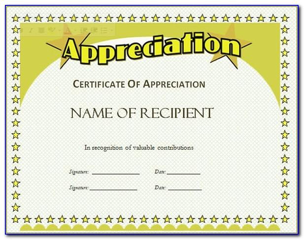 Free Printable Recognition Certificate Template