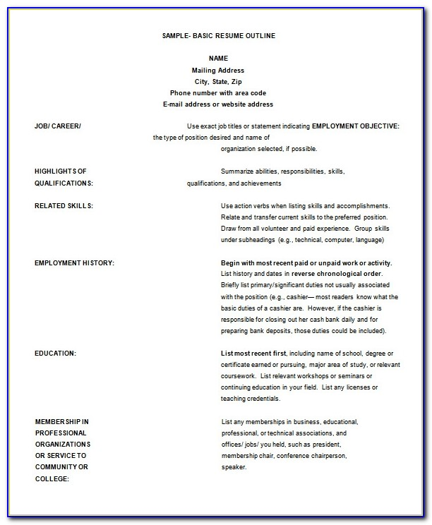 Free Printable Resume Outlines