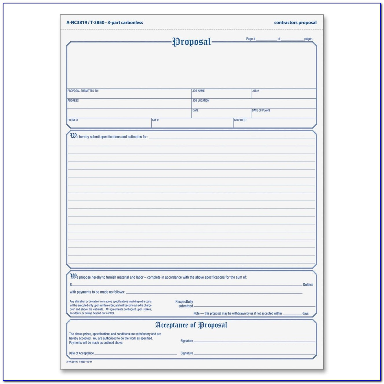 Free Printable Roofing Proposal Form
