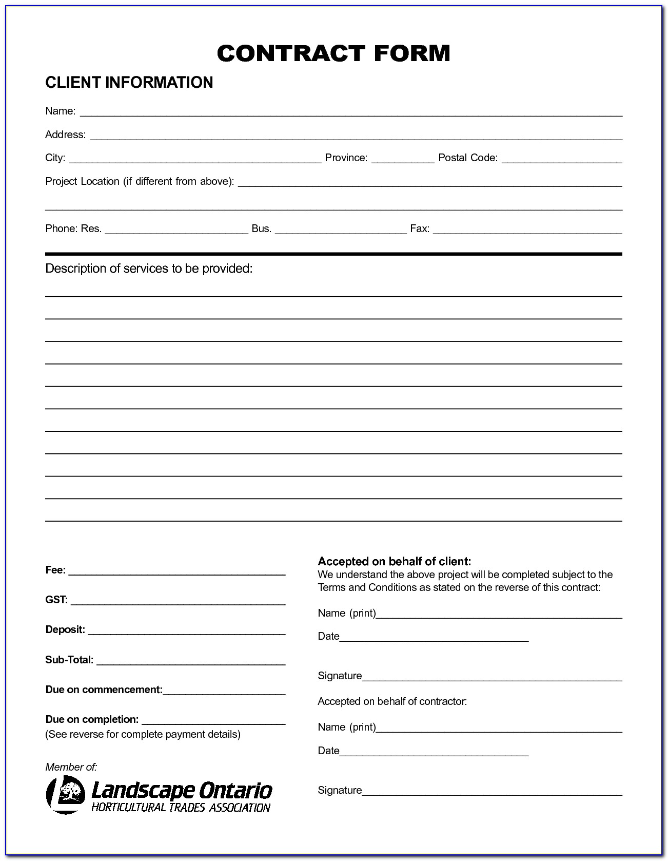 Free Printable Service Contract Forms