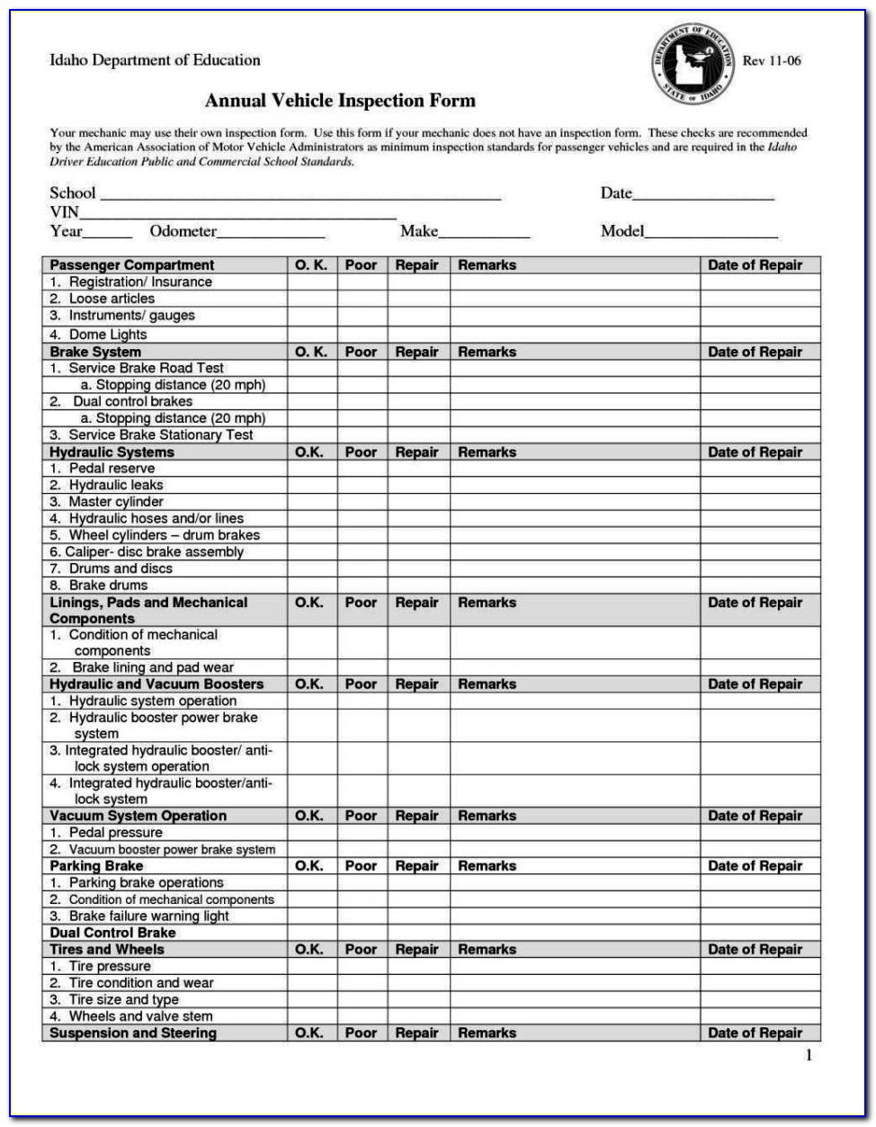 Used Vehicle Inspection Form Template