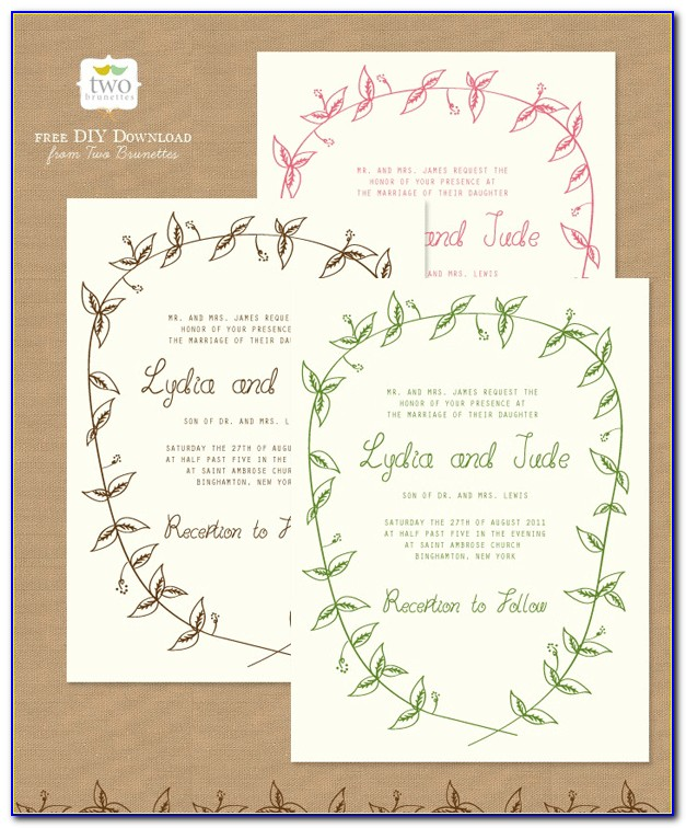Free Printable Wedding Invitation Templates Download Rustic