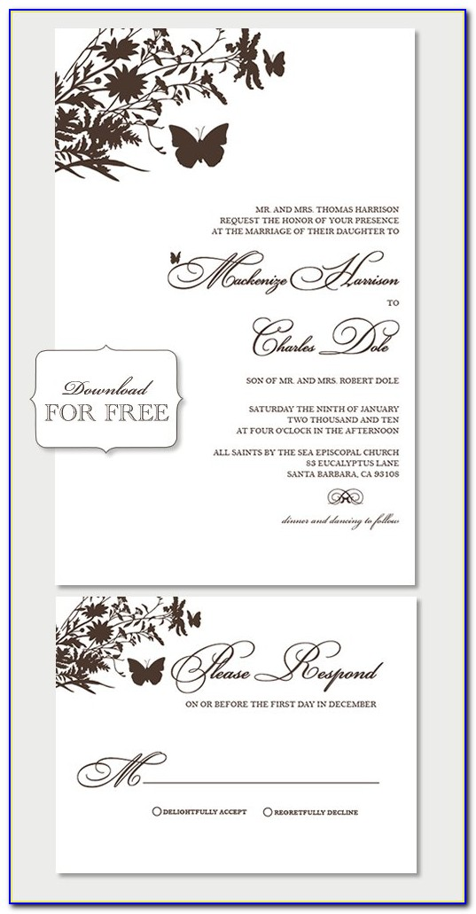 Free Printable Wedding Invitation Templates For Mac
