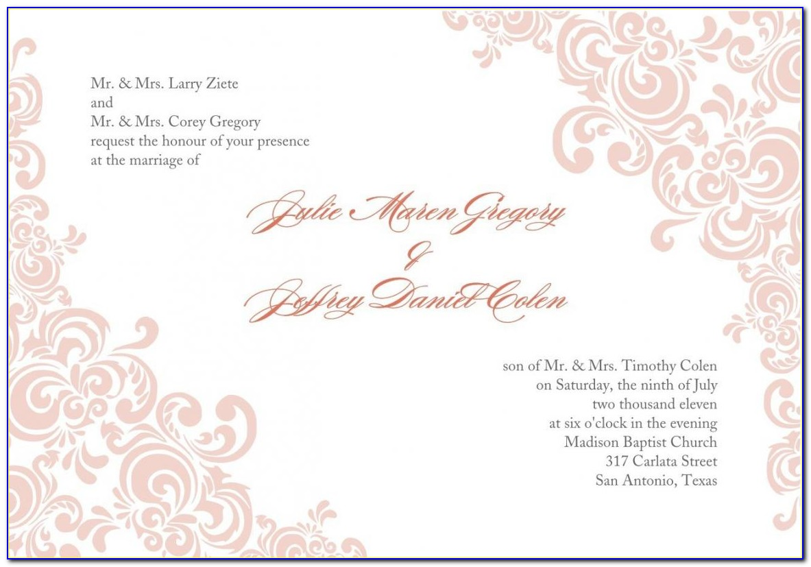 Free Printable Wedding Invitation Templates For Microsoft Word