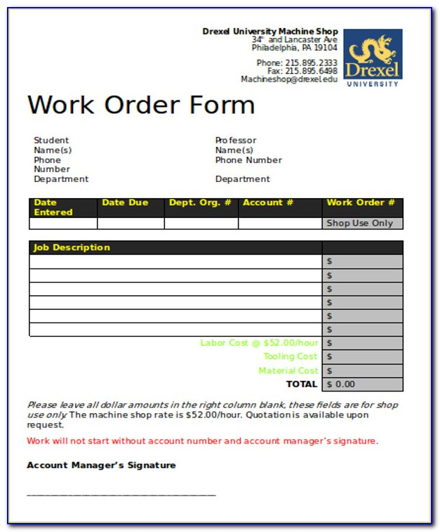 Free Printable Work Order Template Word