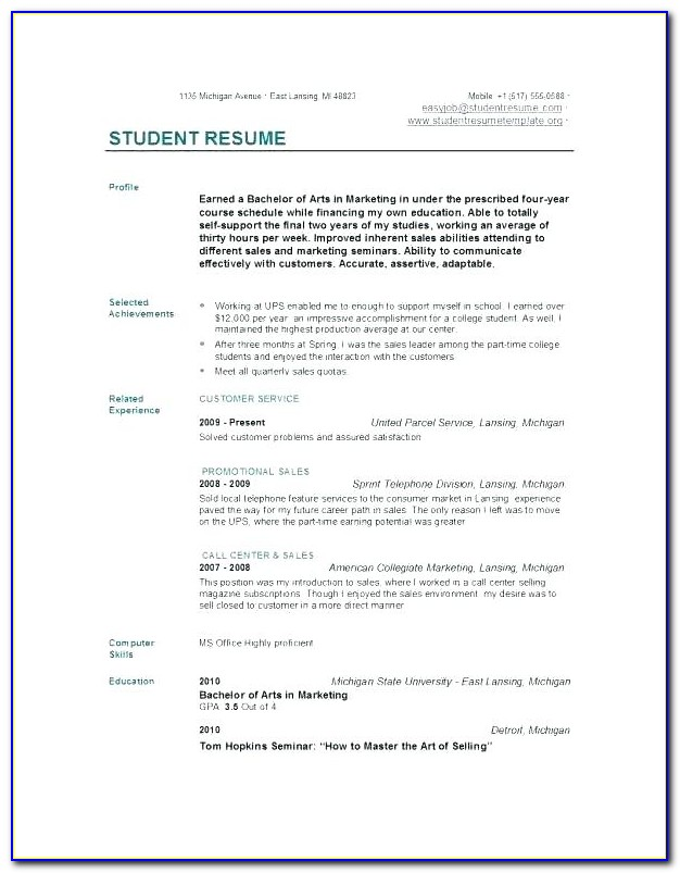 Free Quick Resume Template