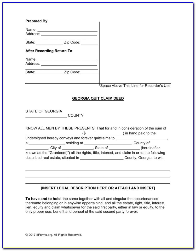 Free Georgia Quit Claim Deed Form Pdf | Word | Eforms – Free Pertaining To Free Printable Quit Claim Deed Form