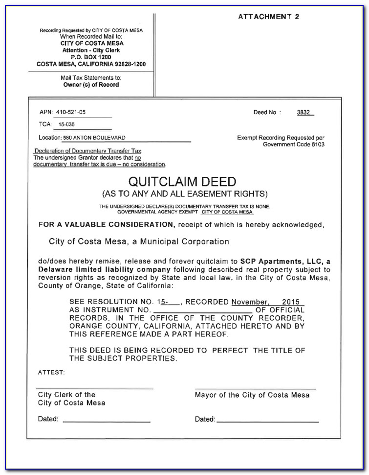 Free Quit Claim Deed Form Orange County California