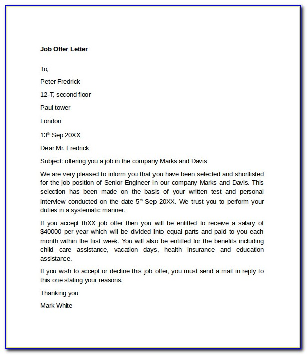 Free Real Estate Offer Letter Template