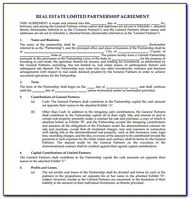Free Real Estate Partnership Agreement Template