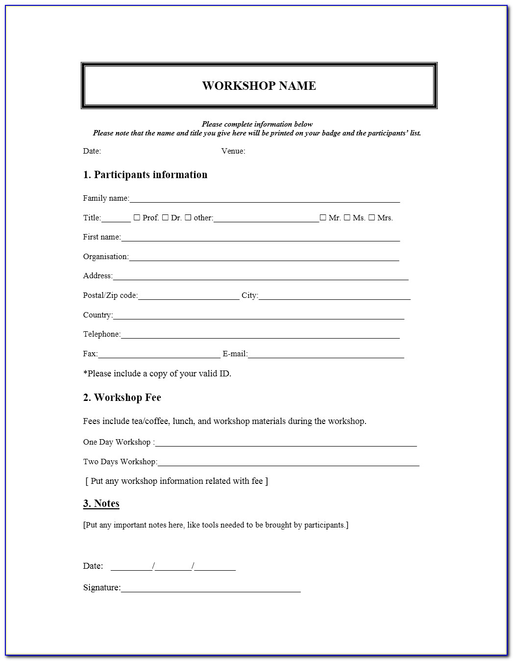 Free Registration Form Template Html5