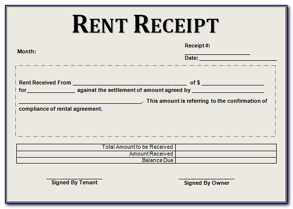 Free Rent Receipt Form Download