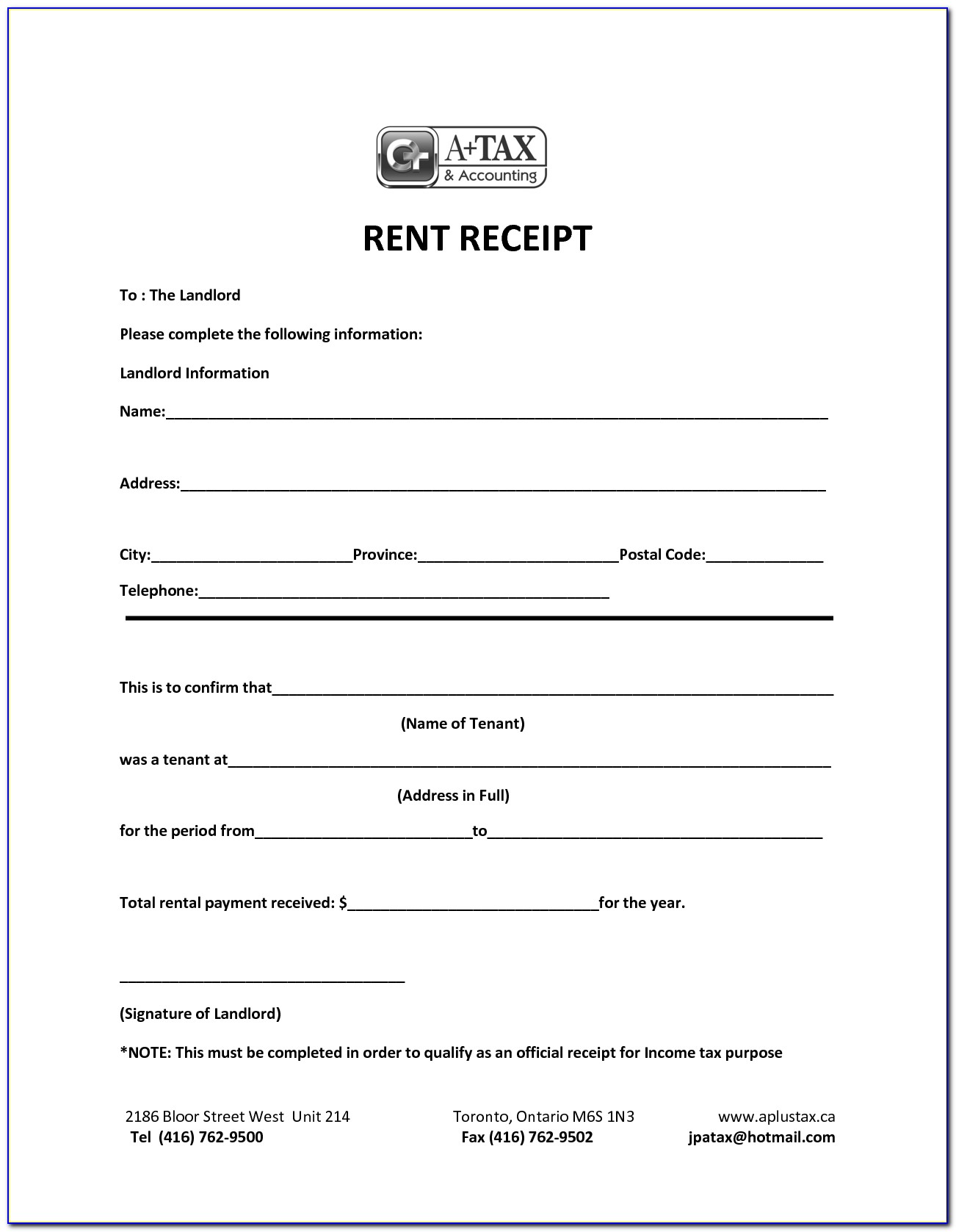 Free Rent Receipt Template Australia