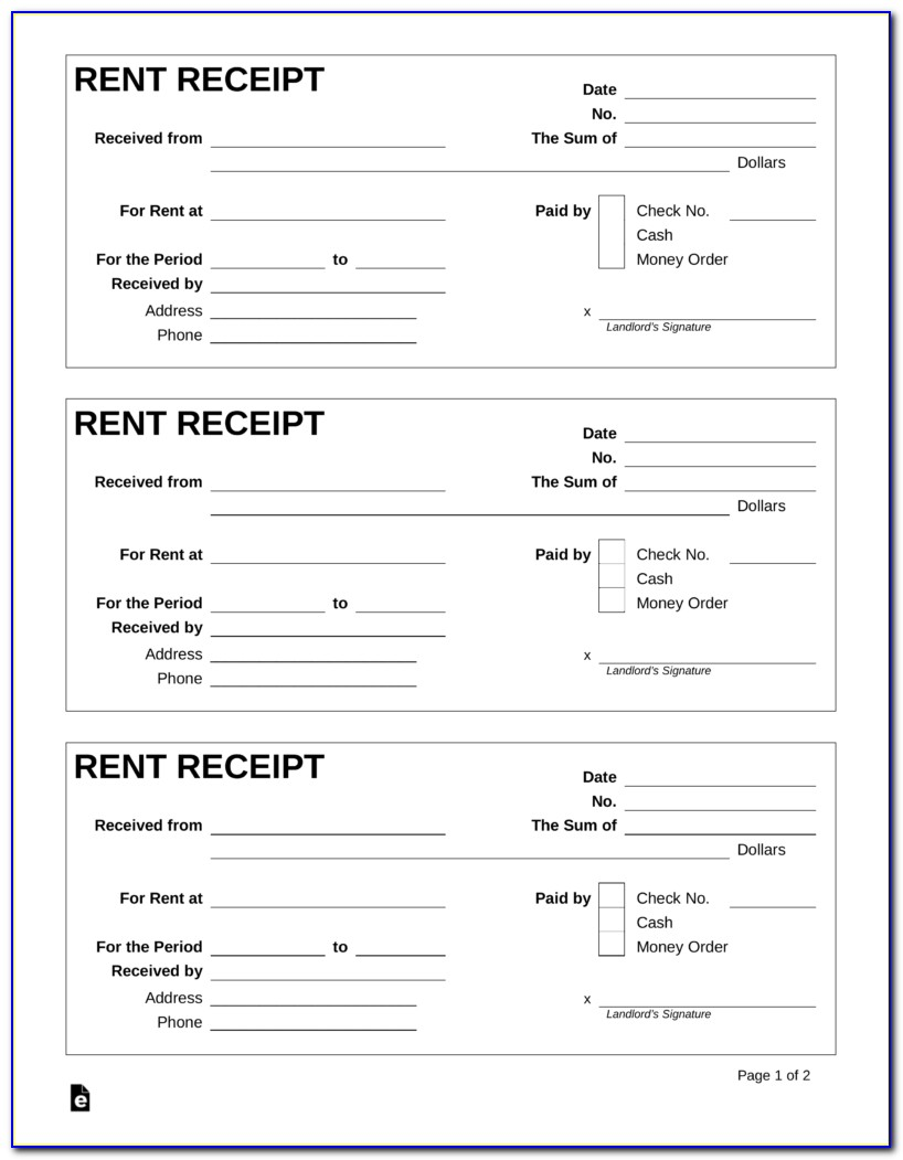 Free Rent Receipt Template Uk